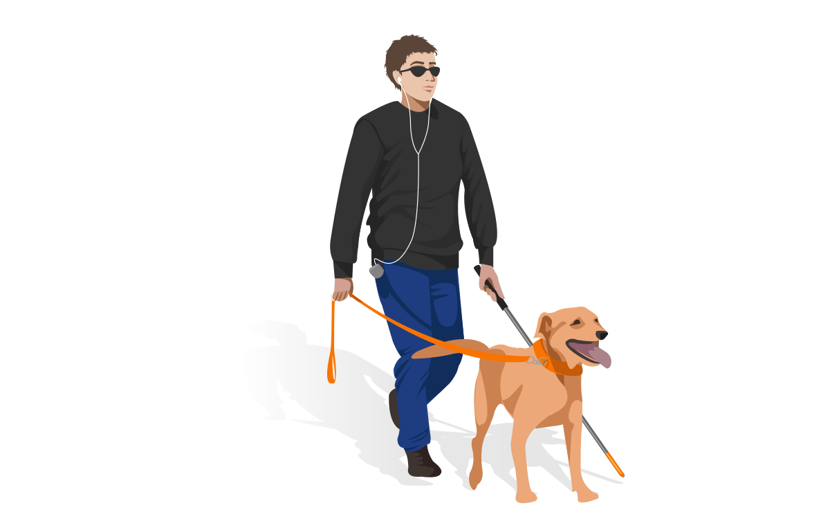accessibility : low vision man with headphones walking with dog