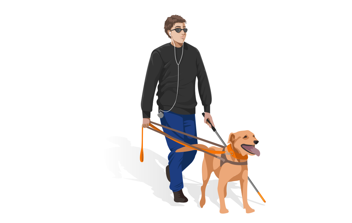 Accessibility : blinded man with dog