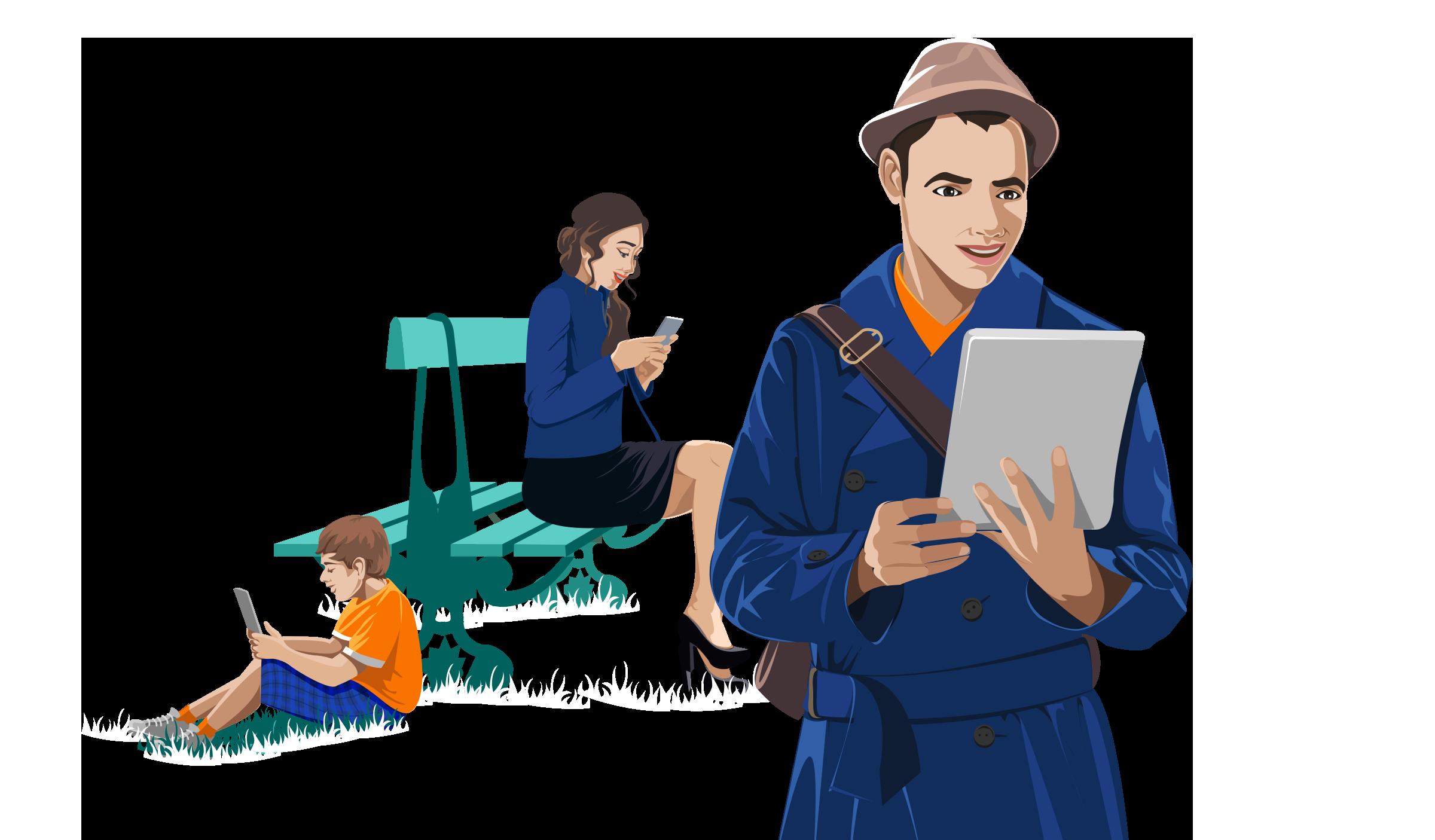 Readium : men with tablet